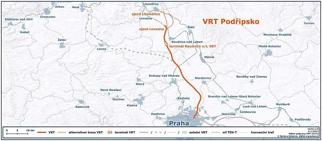 Trasa vysokorychlostní trati (VRT) Podřipsko má zvětší části kopírovat dálnici. Obec podél ní požadují odhlučnění.