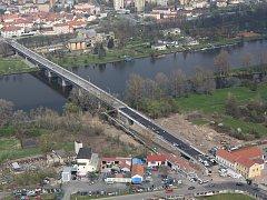 Letecké snímky Tyršova mostu v Litoměřicích, 12.4.2016