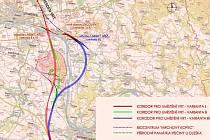 Zvažované varianty vysokorychlostní trati Praha - Drážďany v úseku mezi Roudnicí nad Labem a Litoměřicemi.