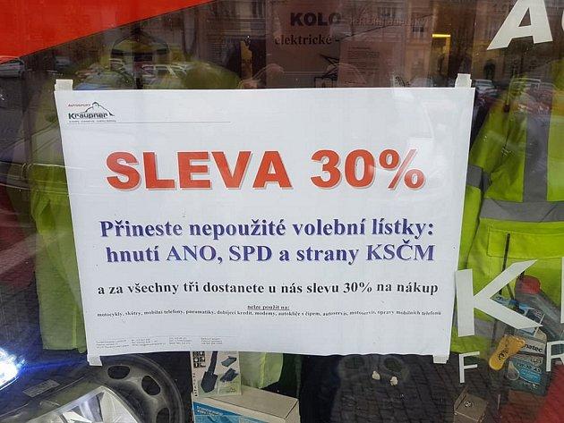 Slevu 30% za nepoužité volební lístky ANO, SPD a KSČM slibuje firma zRoudnice nad Labem