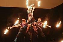 Ohňová show na Střeleckém ostrově v Litoměřicích