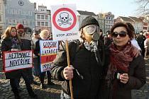 Demonstrace proti spalování ostravských kalů v Litoměřicích.
