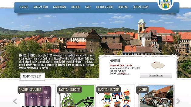 Homepage webu města Úštěk.