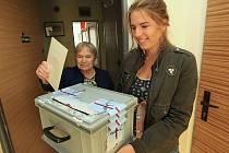 Volební komise, tak jako při každých volbách, obcházejí s přenosnou urnou také voliče, kteří se nemohou dostavit do volebních místností. Na snímku je členka jedné z volebních komisí v Lovosicích Lenka Hronová a volička Růžena Koňarová.