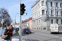 Semafory v ulici Na Valech.