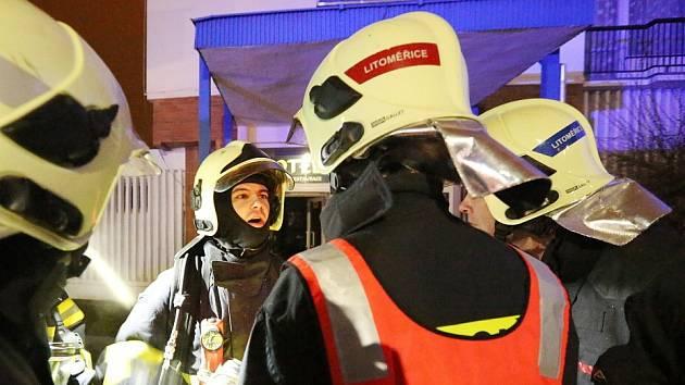Požár v hotelu Labe v Litoměřicích