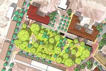 NÁVRH na úpravu parku u lovosických škol. Světle zelenou barvou jsou označeny stávající stromy. Tmavě zelenou pak stromy z nové výsadby.
