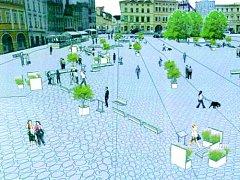 Návrh nové podoby dočasné pěší zóny na části litoměřického Mírového náměstí.