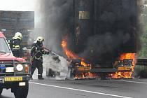 Požár kamionu u Lovosic