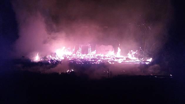 Požár prázdné budovy v Libochovicích.