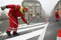Stavba nové okružní křižovatky v Litoměřicích.