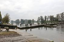 Testování pontonového mostu při mezinárodním vojenském cvičení ženistů Elbe 2017 na vodním cvičišti v Litoměřicích. Ilustrační foto.