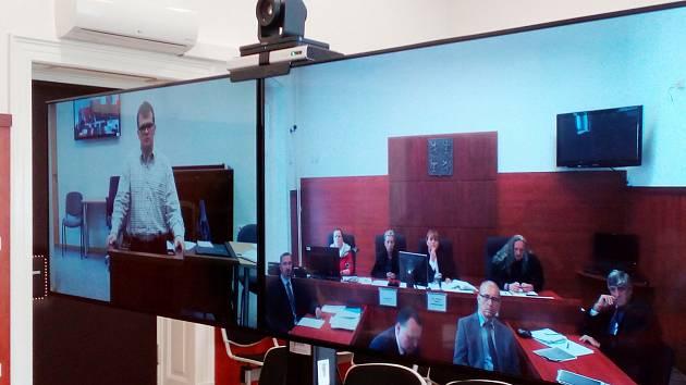Videokonference s Ansisem Bérziňšem a Jelenou Staburovou u Okresního soudu v Litoměřicích