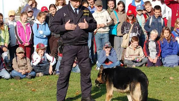 Litoměřičtí páťáci zhlédli například ukázku výcviku policejního psa.