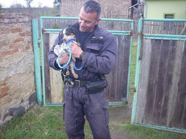 Strážník Tomáš Rotbauer se psem, kterého někdo hodil přes plot  Strážník Tomáš Rotbauer se psem, kterého někdo hodil přes plot
