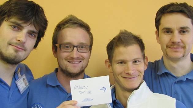 Fyzioterapeuti (zleva) Jiří Štverák ml., Jiří Otta, Jan Zikmund a Miroslav Zůna se rozhodli v listopadu podpořit celosvětovou akci Movember 2014.