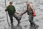 Po chovném  rybníku ve Velkém Újezdu provedli členové Místní organizace Českého rybářského svazu v sobotu výlov nádrží v Třebušíně.