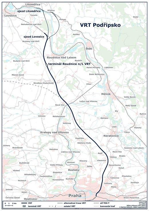 Vysokorychlostní trať Podřipsko je součástí vysokorychlostní železnice Praha - Drážďany. Správa železnic předpokládá, že tento úsek bude prvním, který bude realizovat. Součástí úseku bude nový terminál osobní dopravy Roudnice nad Labem VRT. Poté bude na ř