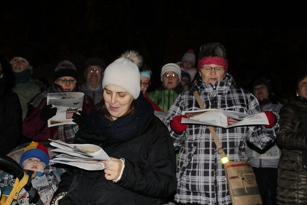 Přímo s Litoměřickým deníkem a sborem Modrásci na Mírovém náměstí v Litoměřicích koledy zpívalo odhadem dvě stě lidí.