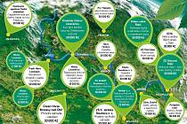 Mapa podpořených projektů v rámci letošní Environmentální výzvy