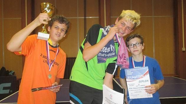 ÚSPĚŠNÉ družstvo mladých stolních tenistů.