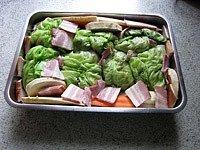 Pečené zelné závitky smletým masem - Mrkev, petržel a celer