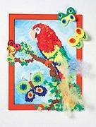 Obrázek – papoušek a motýl