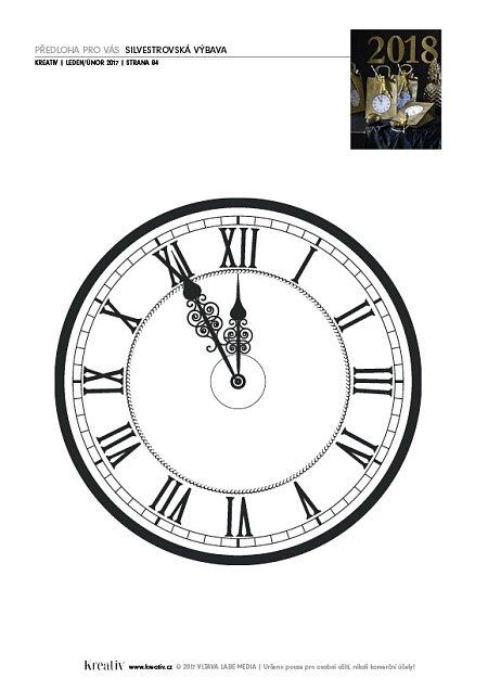 předloha hodiny a číslice 2018