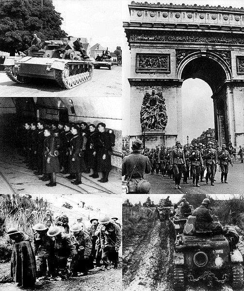 koláž z bitvy o Francii (10. května - 22. června 1940)