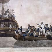 Vzbouřenci vysazují kapitána lodi a část posádky do člunu, ilustrace z roku 1790