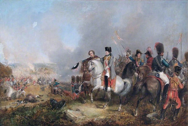 Napoleon uWaterloo na obraze vlondýnské Královské vojenské hudební škole.