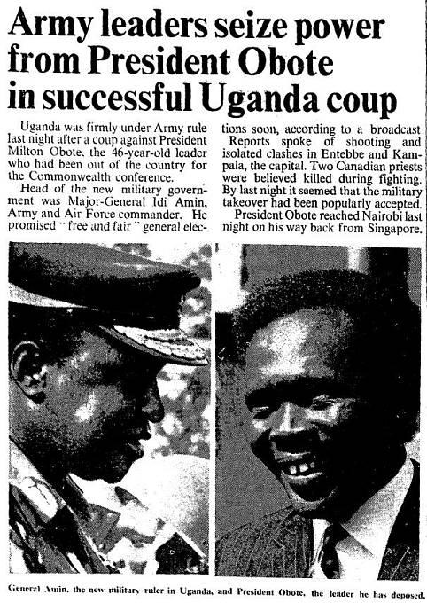 25.1. 1971; Světový tisk informuje o převratu v Ugandě