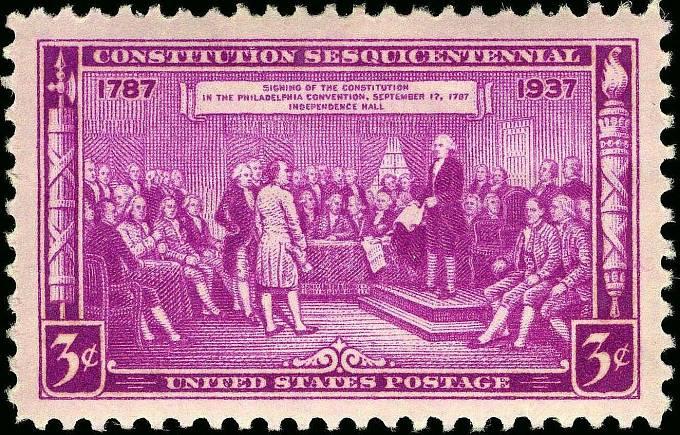 Poštovní známka, jež byla vydána po odsouhlasení Ústavy USA.
