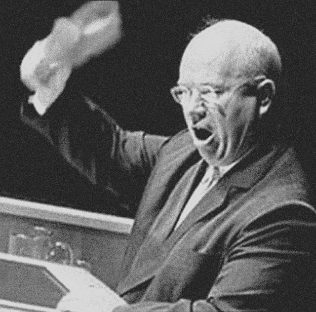 Fotomontáž Chruščova sbotou vruce