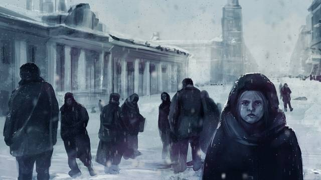 Obyvatelé obléhaného Leningradu - malba neznámého autora