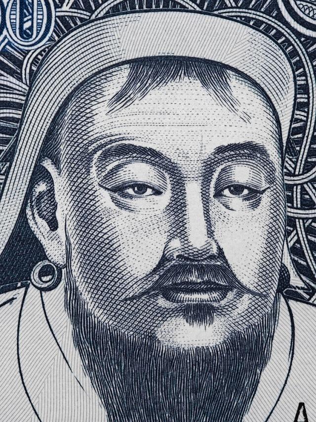 Čingischán na mongolské bankovce