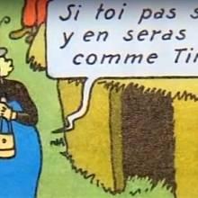 """""""Když nebudeš poslouchat, nikdy nebudeš jako Tintin,"""" říká černá maminka svému synovi. Komiks čelil stížnostem, že uráží Konžany."""