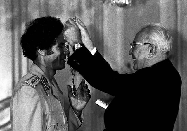 Muammar Kaddáfí s Gustávem Husákem; 1982