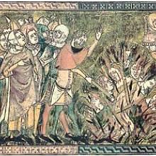 Vraždění štrasburských Židů na dobovém vyobrazení