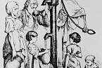 Kresba smrtky, která nalévá Londýňanům šálek cholery. Vznikla v roce 1866