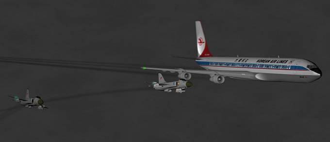 Znázornění pravděpodobného průběhu incidentu, při němž ruské stíhačky zasáhly proti korejskému letadlu