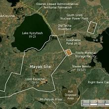 Dispozice jaderného komplexu Majak na satelitní mapě