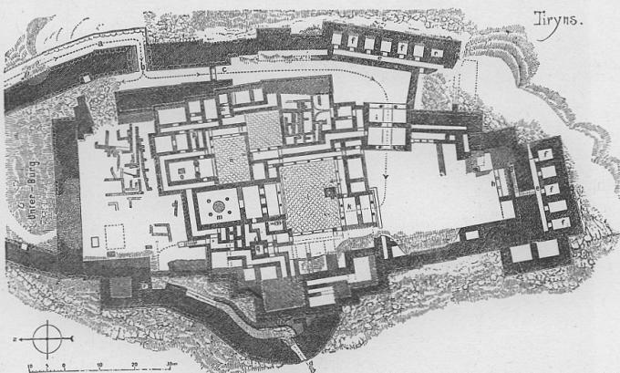 Mapa paláce Tíryns