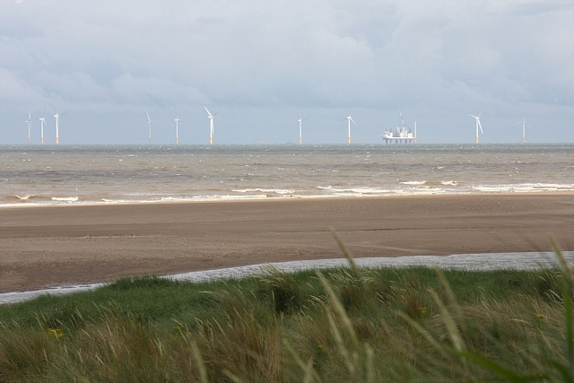 Větrné elektrárny u pobřeží anglického Lincolnshiru.