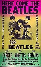 Plakát k turné The Beatles v roce 1966 - na koncert v Candlestick Park v San Francisku
