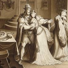 Přemysl Otakar II. zapudil manželku Markétu a oženil se s Kunhutou Haličskou - kresba Karl Russ, cca 1830