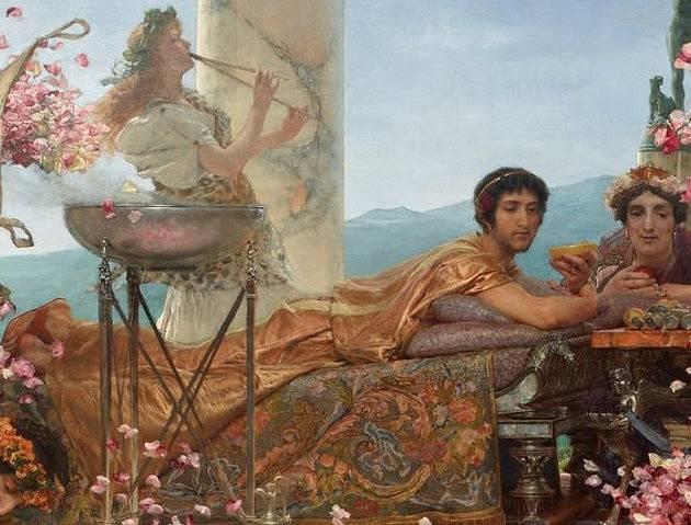 Elagabalovy růže, olejomalba: Alma-Tadema (1888)