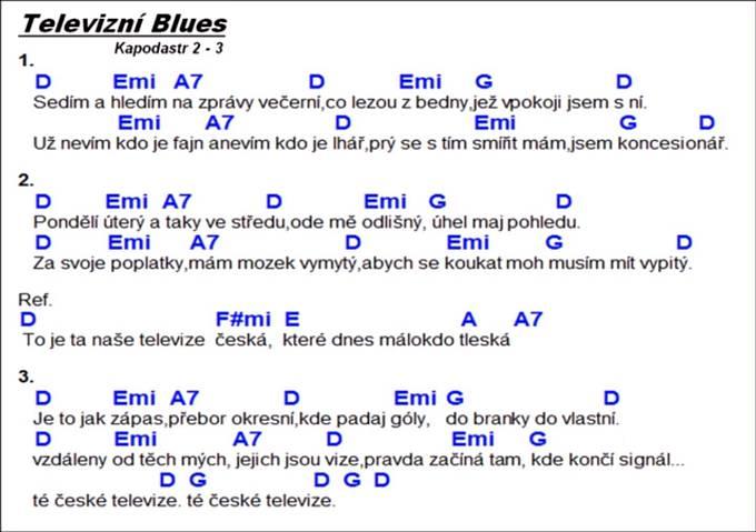 """Slova """"písně"""" Lubomíra Španěla """"Televizní blues"""", zapsaná osobně autorem"""