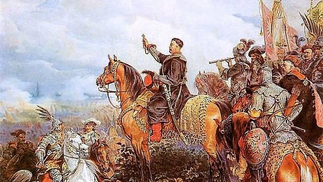 Jan III. Sobieski žehná polské jízdě před útokem na Osmany