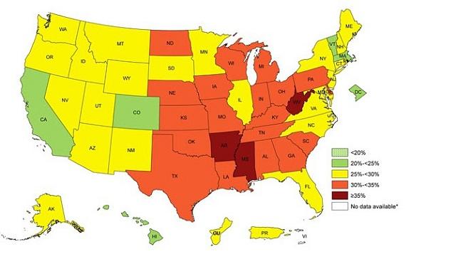 Podíl obézních lidí vUSA podle jednotlivých států. Údaje za 2014